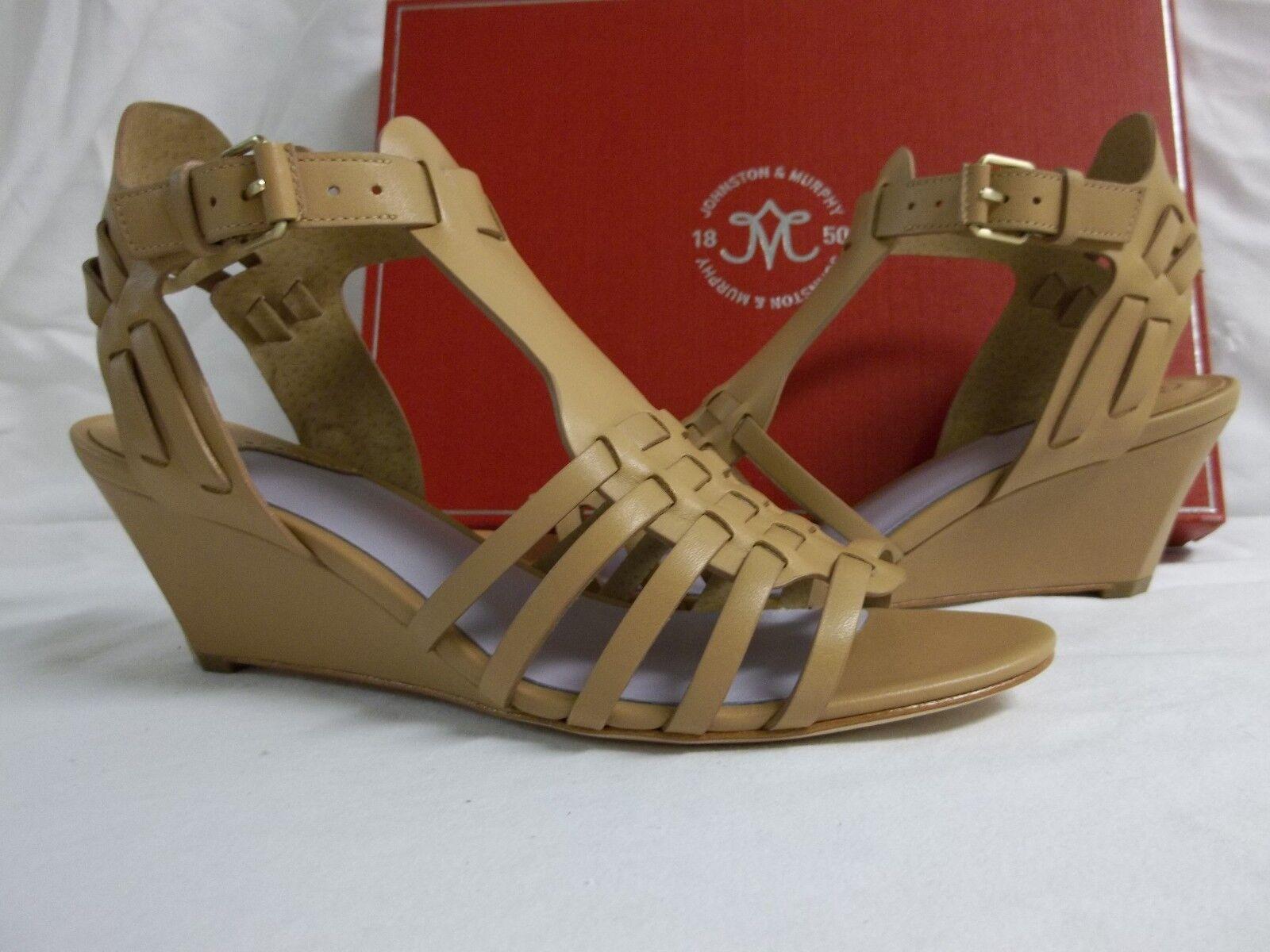 Johnston & Murphy Größe 7 M Kaye Natural Leder Open Toe Wedges NEU Damenschuhe Schuhes