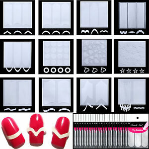 5-12Pcs-French-Stencil-Nail-Art-Form-Fringe-Guides-Tips-Nail-Manicure-Stickers