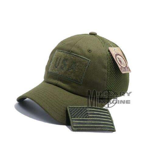 USA American Flag Hat OD Green Detachable Patch Micro Mesh Tactical Cap