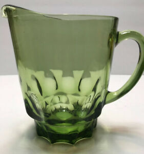 Retro Round 7 Piece Avocado Green Glass Pitcher and Roly Poly Glasses