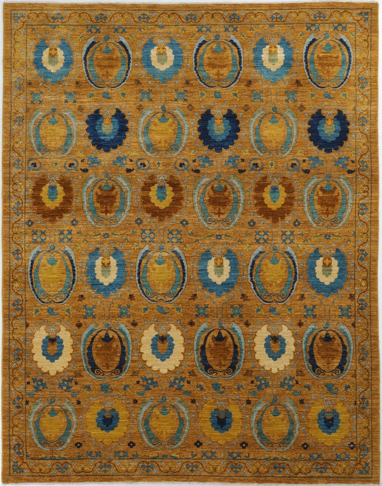 Traditional Hand Knotted Modern Area Rug Gold Blue Persian