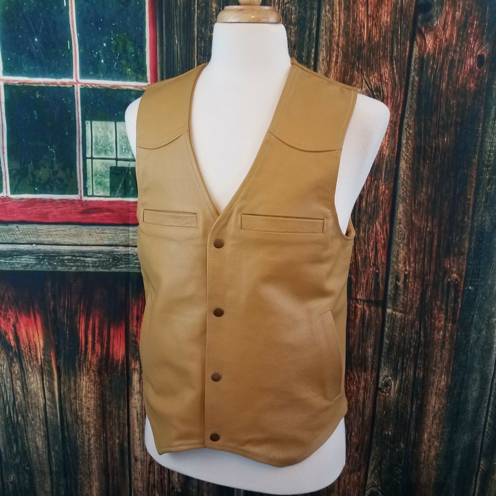 Wyoming Traders Mens Tan Leather Conceal Carry Western Cowboy Vest Medium