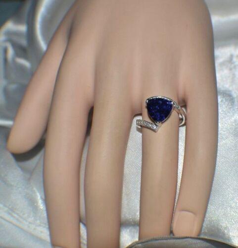 PREMIUM AAA TANZANITE 12 VVS DIAMOND COCKTAIL DINNER GYPSY 14K GOLD FILL 9 5 CT