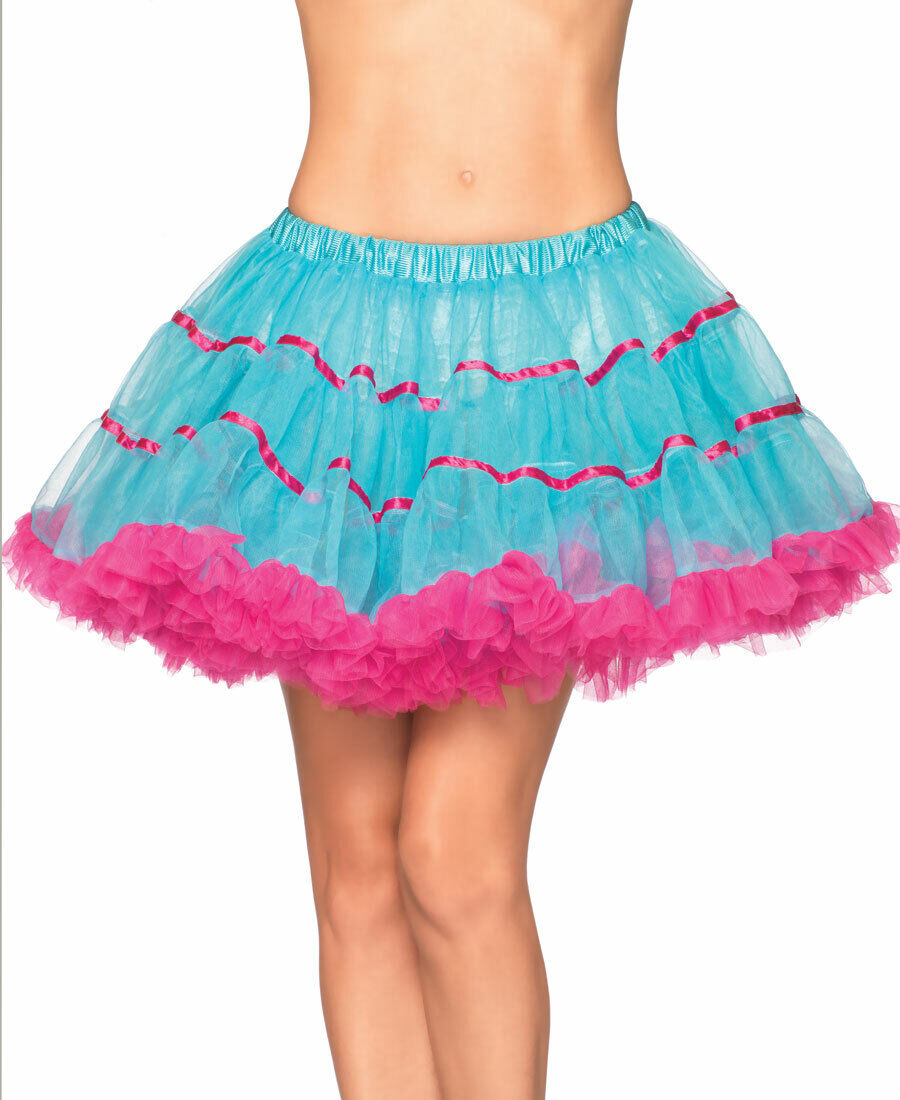 New Leg Avenue A1711TP Turquoise And Pink Layered Satin Striped Tulle Petticoat