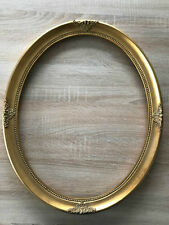Antik Stil Holz Bilderrahmen Oval 57 x 47 cm Ornamentiert Gemälderahmen Gold