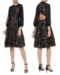 a421d8802b1b Image is loading Marchesa-Notte-Cutout-Chiffon-paneled-Guipure-Lace-Dress-