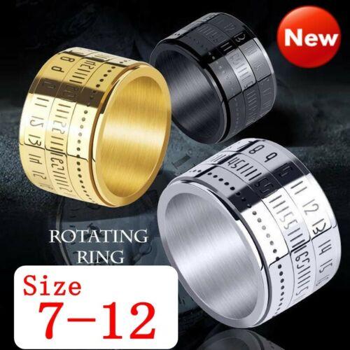 Einzigartige breite drehbare Zahl Uhrzeit Edelstahl Fingerbandring #7-12