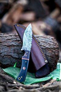 """8.5"""" Damascus Knife Custom Handmade Forged Knife Damascus Steel Skinning Knife"""