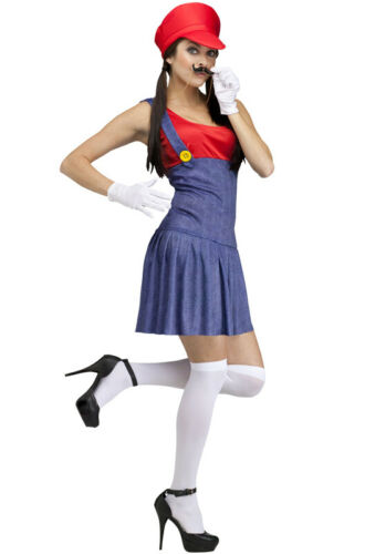 Red Mario Lady Pretty Plumber Adult Costume