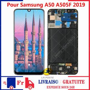 POUR SAMSUNG GALAXY A50 A505F 2019 SM-A505F LCD ECRAN VITRE TACTILE + CADRE NOIR