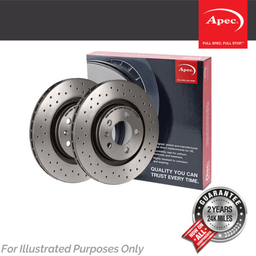 Fits Mini Cooper S JCW R56 1.6 Apec Front Vented Drilled Grooved Brake Discs