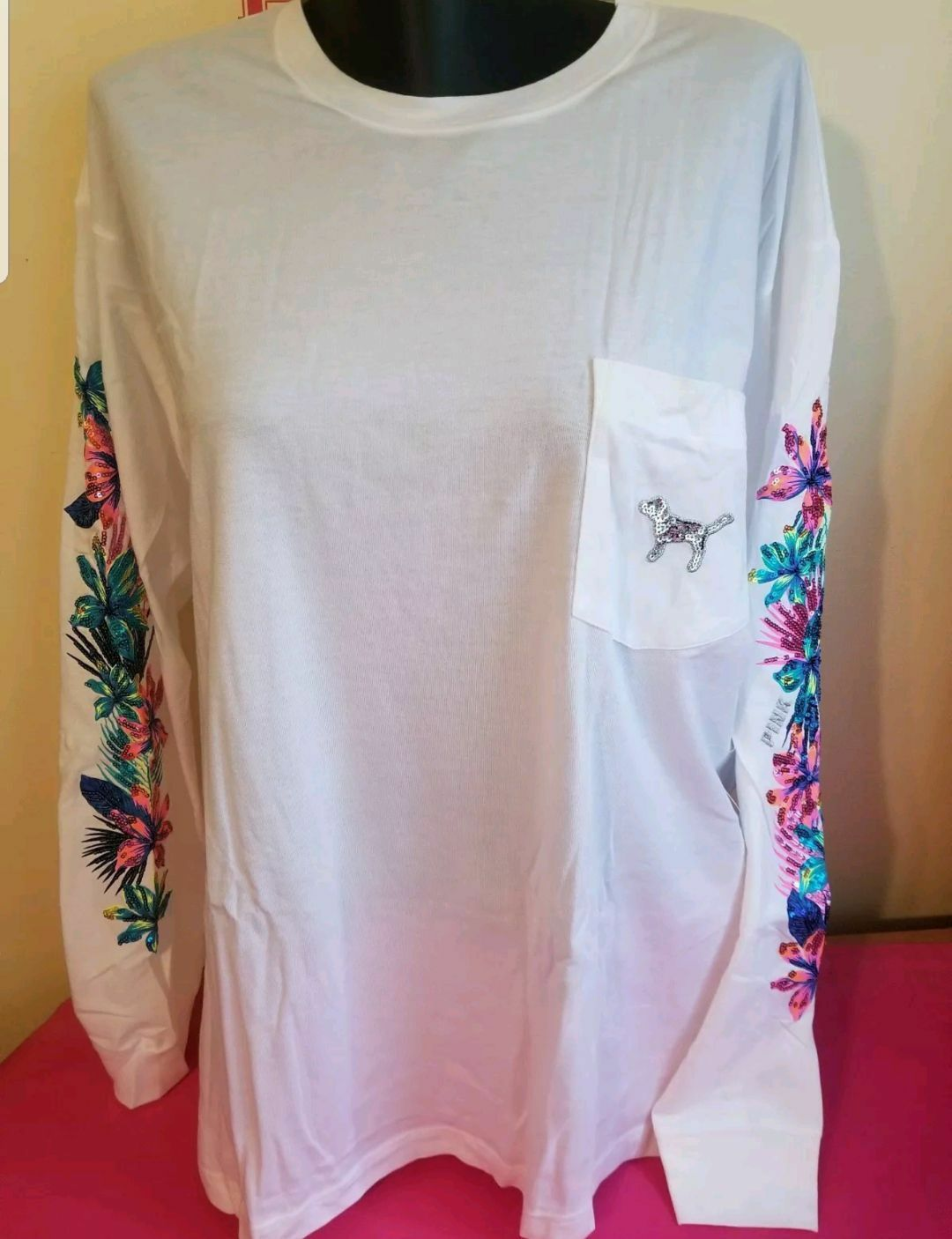 VICTORIA'S SECRET PINK FLORAL BLING CAMPUS LONGSLEEVE SMALL NIP