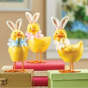 Set of 3 Easter Chicks Wearing Bunny Ears Tabletop Sitter Collectible Figurines
