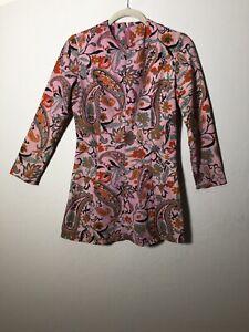 Sally-Forth-Vintage-1950s-Purple-Paisley-Floral-Mini-Dress-Size-10-3-4-Sleeves