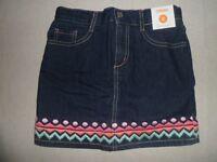 Gymboree Wild For Horses Denim Blue Jean Chevron Stripe Skirt Skort 6 7