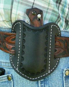 XL-S-Leather-Pancake-Pocket-Knife-Sheath-Benchmade-Ruff-039-s-Border-Tooled-Black