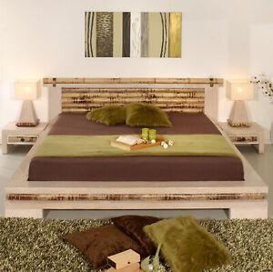 Details Zu Bambusbett 200x220 Eco Weiß Doppelbett überlänge Massiv Holzbett Bett Design Neu