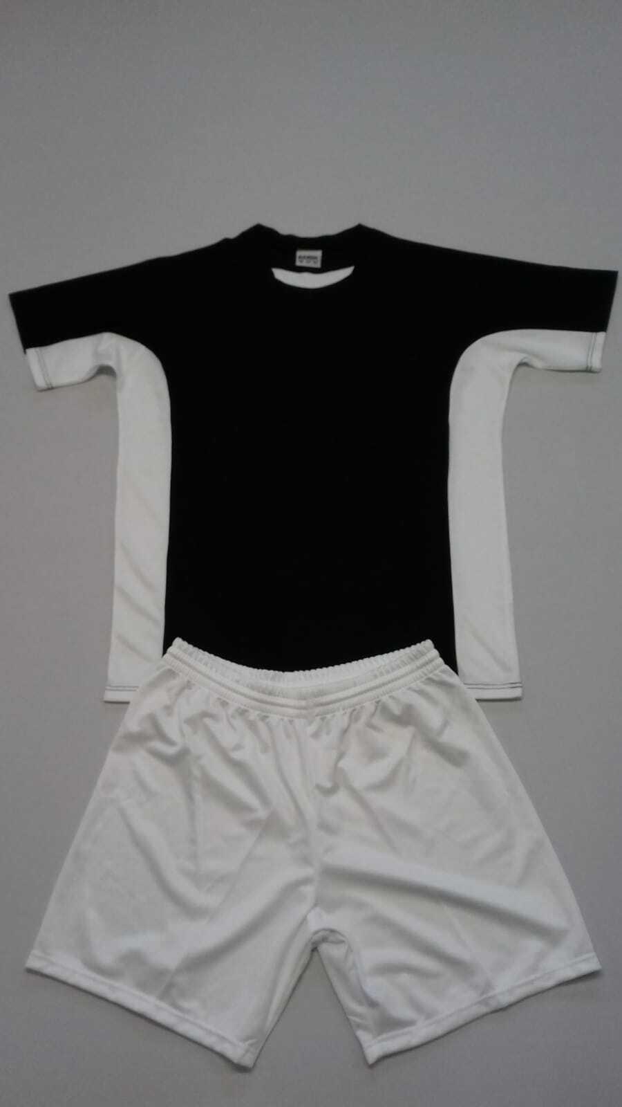 FOOTEX 10 Completi Calcio Calcetto COSMOS Manica Corta Color negro Bianco