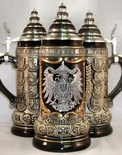 German Eagle Pewter Relief with State Crests German Beer Stein .75L ONE Mug New