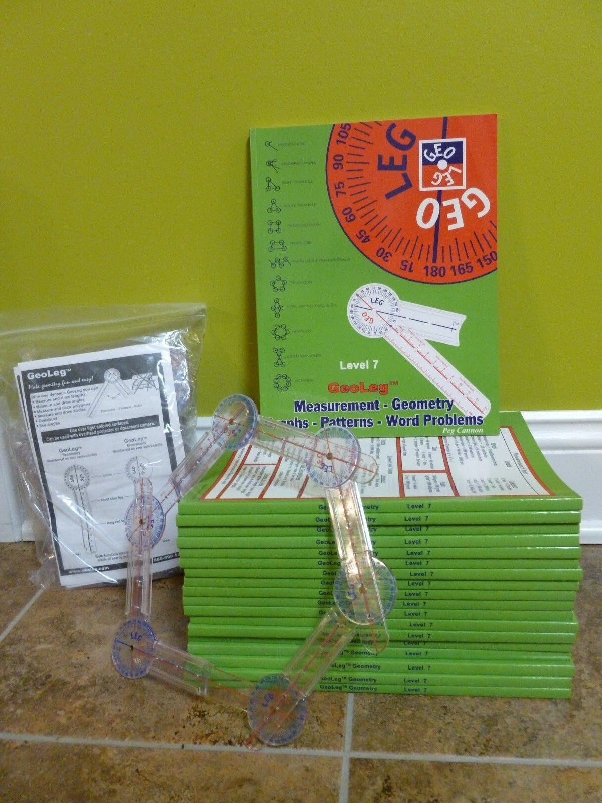 NEW Lot GeoLeg Math 19 Student Books Level 7  + 54 Prougeractor Compass Rulers NEW
