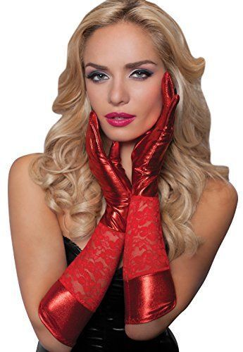 Red Lace wet Look Satin Gloves Clubwear Party Fancy Dress Seductress