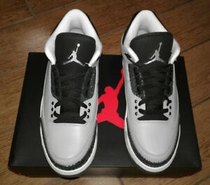buy popular c17f2 78d55 Image is loading Nike-Air-Jordan-3-Retro-Wolf-Grey-Mtllc-