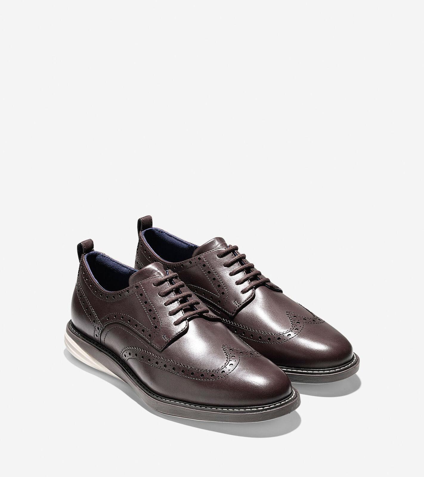 Scarpe casual da uomo  COLE HAAN Grand Evolution Brown Leather Wingtip Oxford Shoes