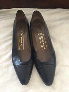 Bruno-Magli-Black-All-Leather-Classic-Pumps-Flats-Shoes-Made-In-Italy-7-5-AA