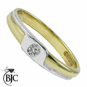 Bjc-9Ct-Oro-Amarillo-Diamante-0-05ct-Solitario-Talla-N-Compromiso-Anillo-de