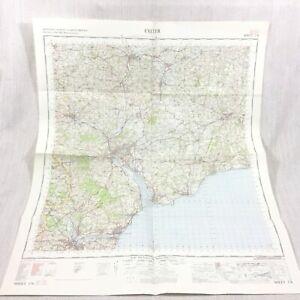 1967 Vintage Militare Mappa Di Exeter Tiverton Honiton Crediton Pezzi, Exmouth