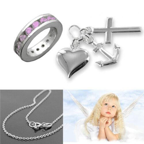 Taufe Schmuck Glaube Liebe Hoffnung mit Taufring pink und 38cm Kette Silber 925