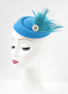 Image is loading Sky-Blue-Turquoise-White-Feather-Pillbox-Hat-Fascinator- 064268be19a