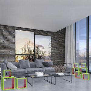3er-Set-Support-Etageres-3-Pieces-MDF-Vert-Rose-Brillant-Fille-Decoration-Murale