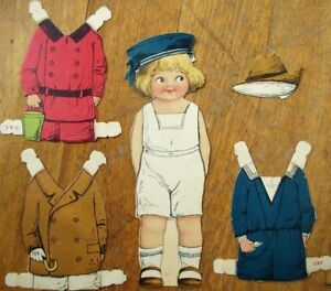 Paper-Doll-1890-Color-Litho-Stand-Up-Boy-w-Five-Pieces-of-Clothing