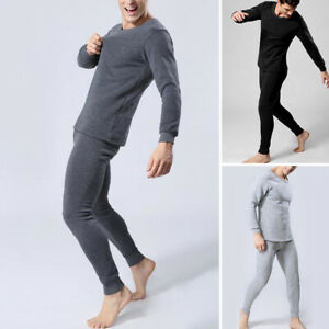 XXL 3 PACK MENS THERMAL BRUSHED LONG JOHNS WHITE BLUE GREY S