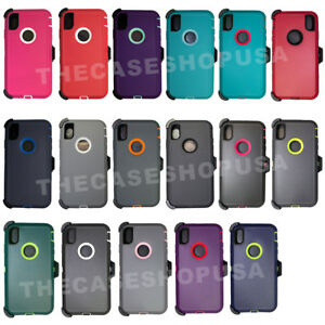 For-Apple-iPhone-XS-Max-Rugged-Case-Cover-Belt-Clip-Fits-Defender-Series