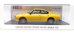 Fox18-DIECAST-metal-modelos-en-miniatura-1-43-coche-modelo-skoda-130-RS-amarillo-vitrina
