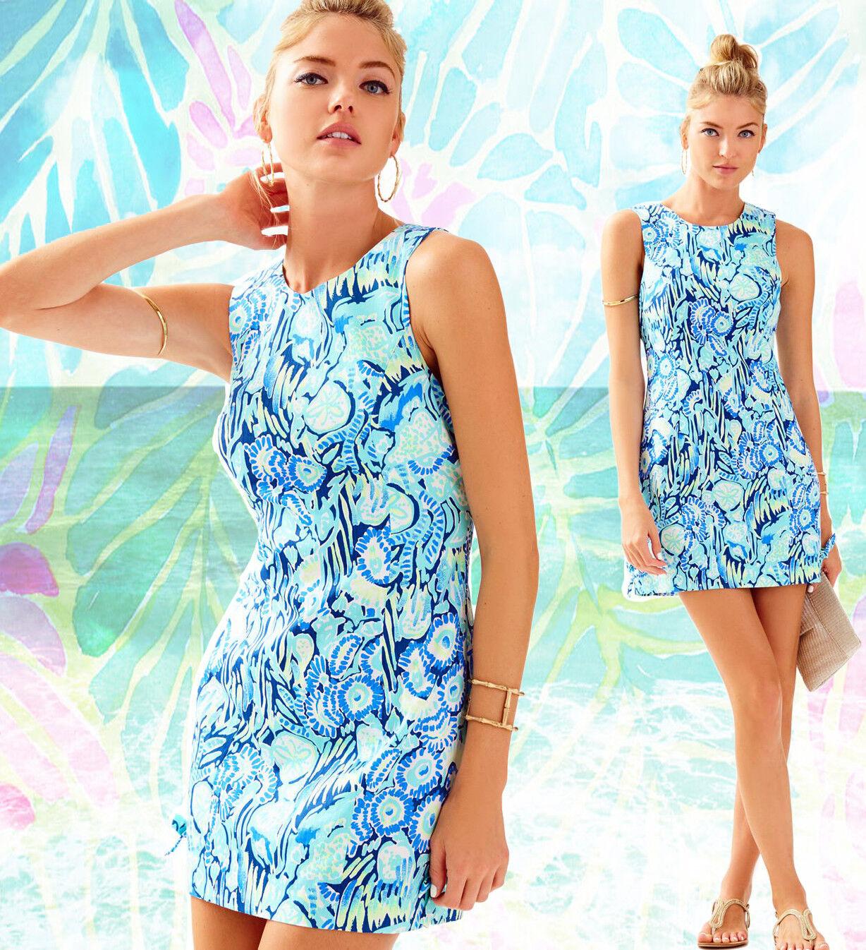 178 Lilly Pulitzer Mila Indigo Sunset Swim Print Shift Dress