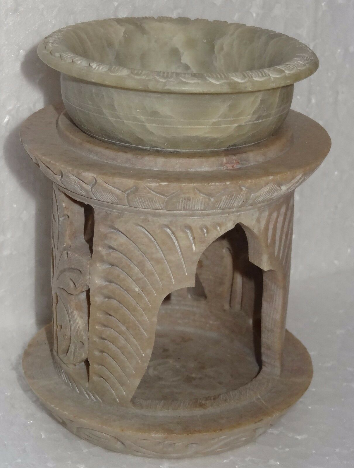 4.5  Marble Candle Holder Natural Stone Aroma Lamp Hand Carved Work Home Gifts