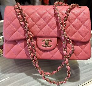fafb7f6004f5 CHANEL 2018 18S PINK CAVIAR JUMBO Double Flap Gold HW ROSEY PINK*NEW ...