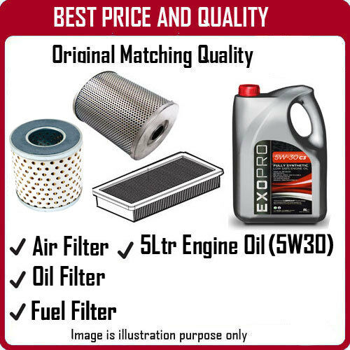 3091 AIR OIL FUEL FILTERS AND 5L ENGINE OIL FOR VOLVO S80 3.0 2007
