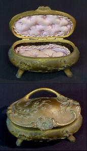 Ambitieux E 1900 Superbe Coffret Art Nouveau Boite Bijoux écrin Bronze Capitonné 630g14cm