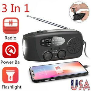 Emergency Solar USB Rechargeable Hand Crank Portable AM/FM/WB Radio Light Torch