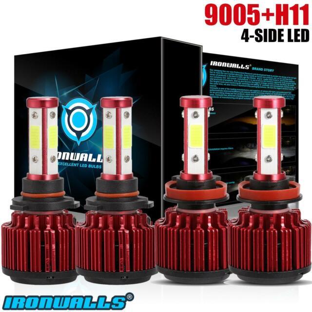 Combo H11+9005 4-sides LED Headlight 3600W 540000LM Hi Lo Beam Combo Kit 6000K