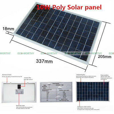 10W 12V Poly Solar Panel 10Watt  PV Solar Module for Motorcycle Battery Charge