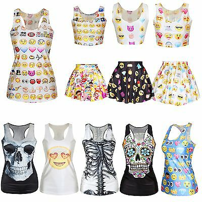 Emoji Skull T Shirt Women Digital 3D Mini Skirt Emoticon Crop Top Girl Singlet