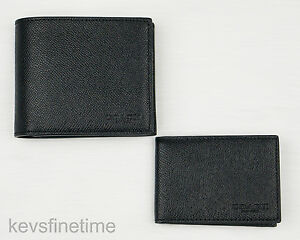 New Coach Men Compact Id Wallet Billfold Black Crossgrain Leather