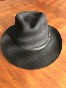 "70a56380acb0f Details about Dobbs Fifth Avenue FD251 Ashland 7-1 4 3"" Brim Black Fedora  Men s Vintage Hat"
