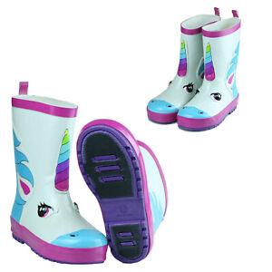 Girls-Boys-Unicorn-Short-Waterproof-Rubber-Rain-Boots-Garden-White-Size-5-12-Hot