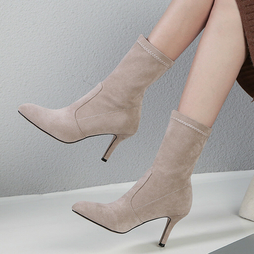 Ladies Mid-calf Boots Pointed Toe Suede High Heel Elastic Pull on Pumps shoes sz
